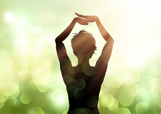 Female in yoga pose against bokeh lights background
