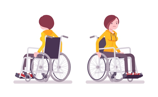 Female young wheelchair user riding