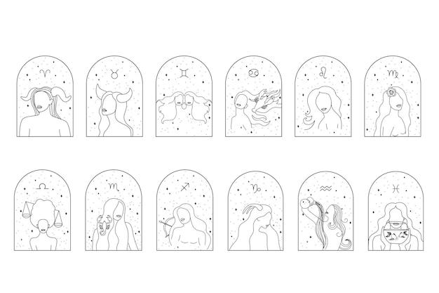 Female zodiac sign set