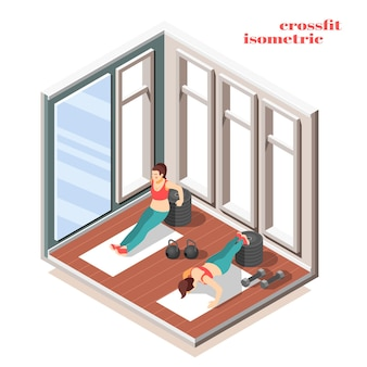 Females doing pushands and pull ups isometric illustration