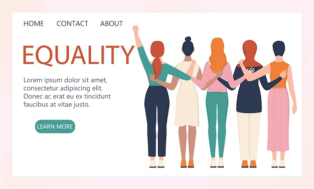 Femenism concept. women support organization website banner or landing page concept. idea of gender equality and female movement. social service website interface.