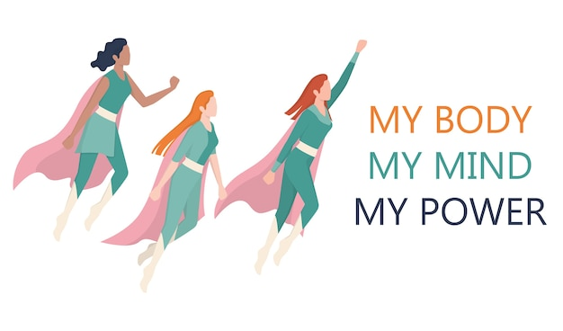 Femenism and girl power concept. superwomen team. idea of gender equality and female movement. women support organization website banner.