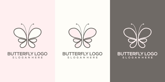 Feminim abstract butterfly logo template