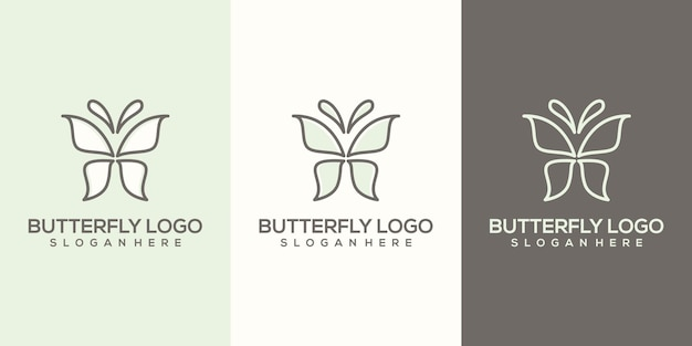 Feminim abstract butterfly logo template