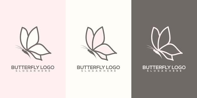 フェミニム抽象的な蝶のロゴのテンプレート
