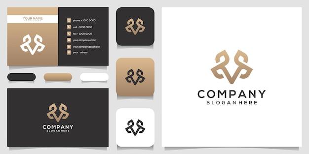 葉のロゴのデザインと名刺とフェミニム文字m