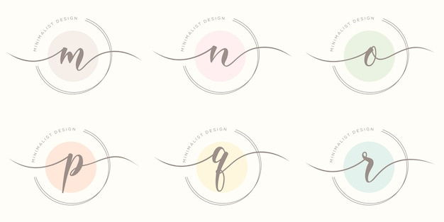 Feminime iniitial with circle concept logo template
