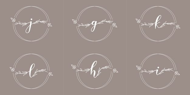 Feminime initial with floral frame logo template
