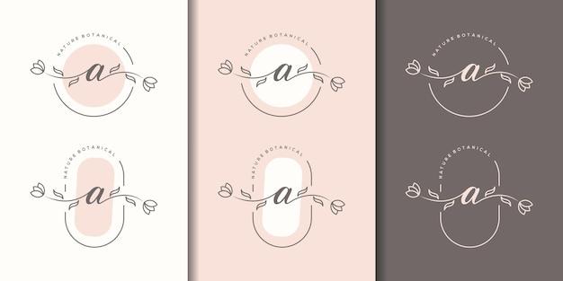 花のフレームのロゴのテンプレートとフェミニム文字a