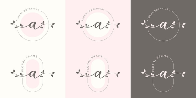 花のフレームのロゴのテンプレートとフェミニムの手紙