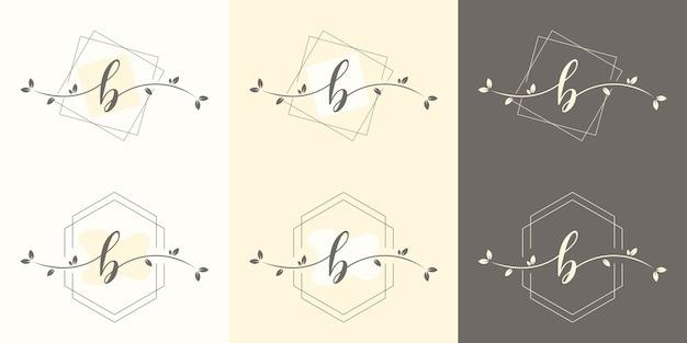 Feminime letter b with floral frame logo template