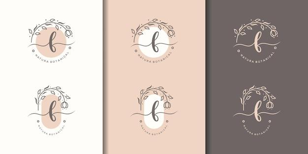 花のフレームのロゴのテンプレートとフェミニム文字b