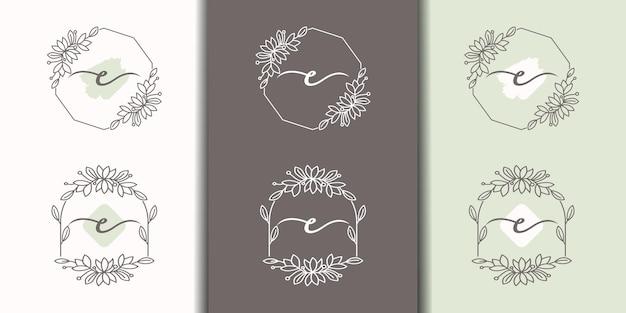 꽃 프레임 로고 템플릿이 있는 여성용 문자 c