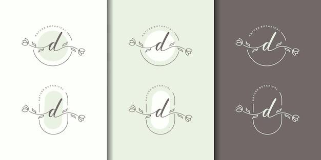 花のフレームのロゴのテンプレートとフェミニム文字d