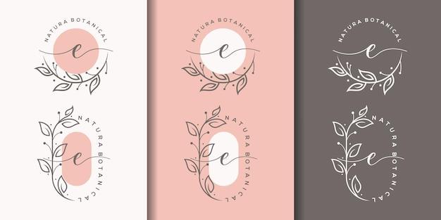 Feminime letter e with floral frame logo design