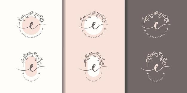 花のフレームのロゴのテンプレートとフェミニム文字e