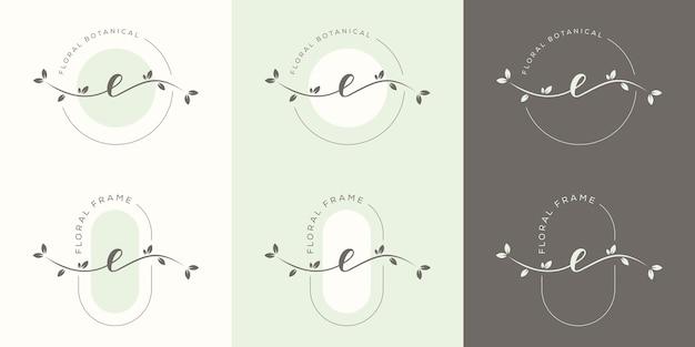 Женственная буква e с шаблоном логотипа цветочной рамки