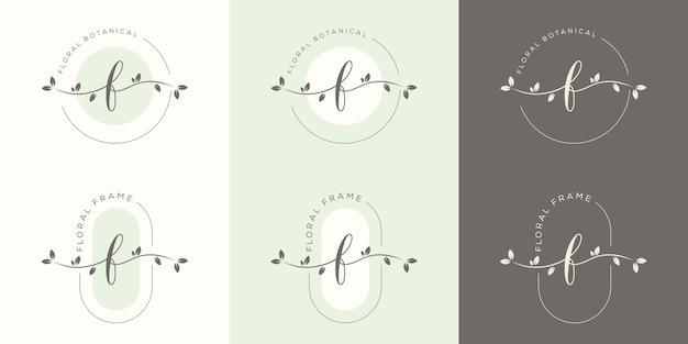 花のフレームのロゴのテンプレートとフェミニム文字f