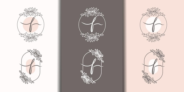 Feminime letter f with floral frame logo template