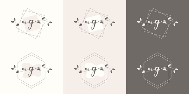 Feminime letter g with floral frame logo template