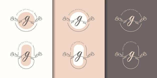 花のフレームのロゴのテンプレートとフェミニム文字g