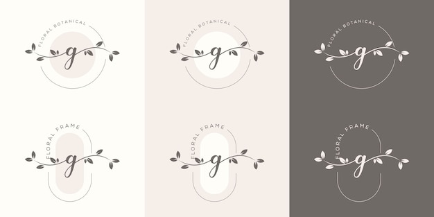 Feminime letter g with floral frame logo template