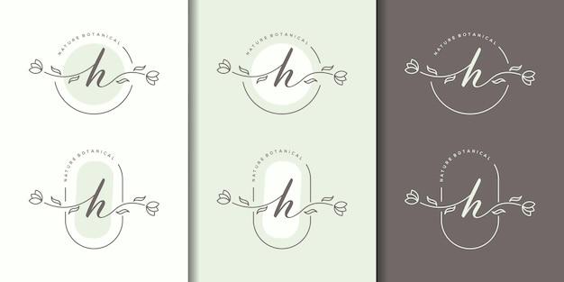花のフレームのロゴのテンプレートとフェミニム文字h