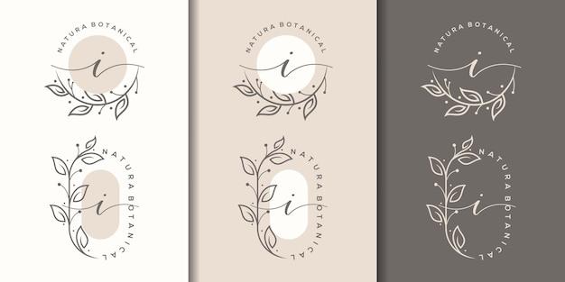 Женственная буква i с дизайном логотипа цветочной рамки
