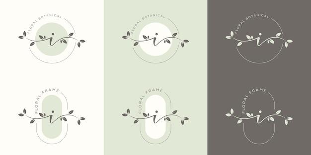 花のフレームのロゴのテンプレートとフェミニム文字i