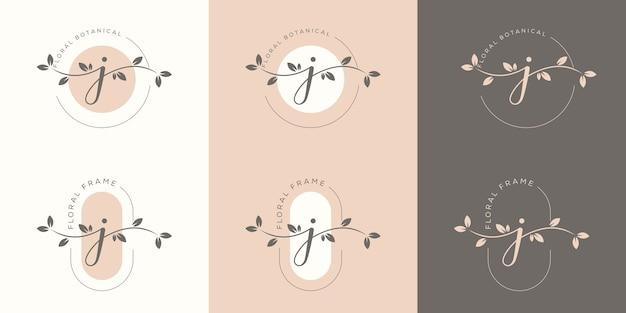 Feminime letter j with floral frame logo template