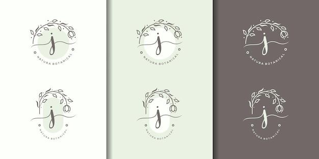 花のフレームのロゴのテンプレートとフェミニム文字j