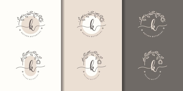Feminime letter k with floral frame logo template