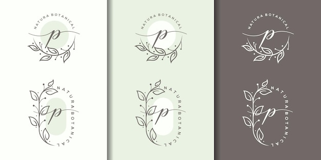 Feminime letter p with floral frame logo template