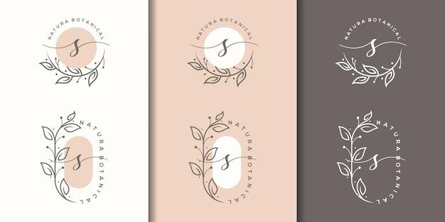 Feminime letter s with floral frame logo design