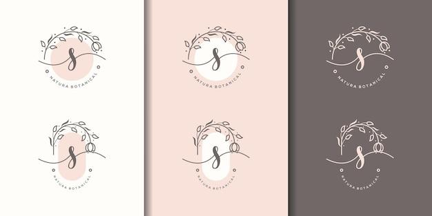 花のフレームのロゴのテンプレートとフェミニム文字