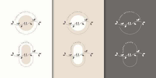 花のフレームのロゴのテンプレートとフェミニム文字u