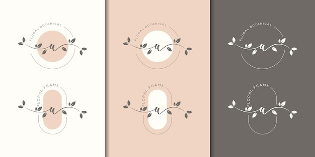 Feminime letter w with floral frame logo template