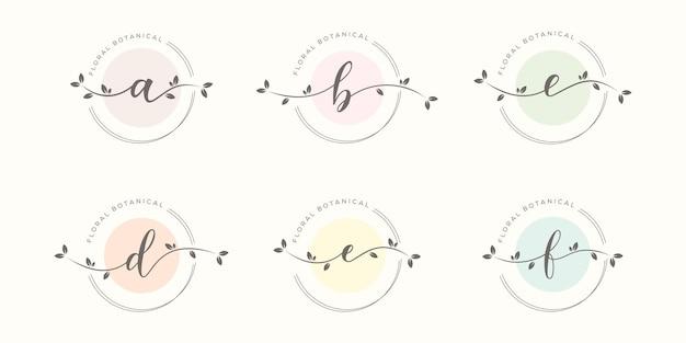 꽃 프레임 로고 디자인을 가진 feminime 편지