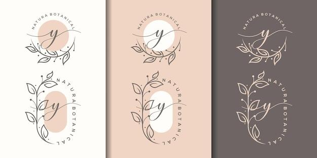 꽃 프레임 로고 디자인의 여성 문자 y