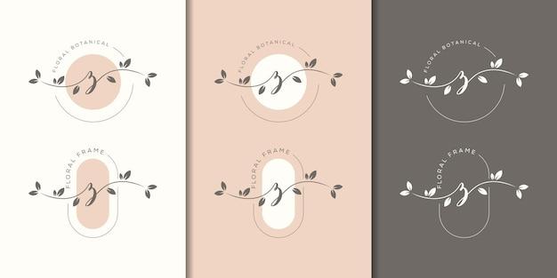花のフレームのロゴのテンプレートとフェミニム文字z