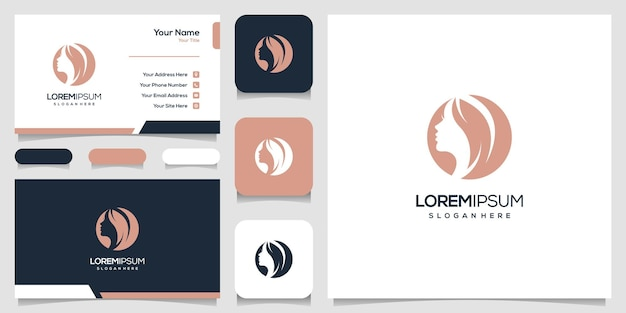 Feminime woman's face nature with line art style logo , business card design.