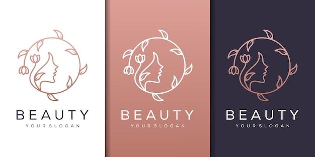 ラインアートスタイルのロゴとフェミニムな女性の顔の自然