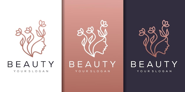 ラインアートスタイルのロゴとフェミニムな女性の顔の自然 Premiumベクター