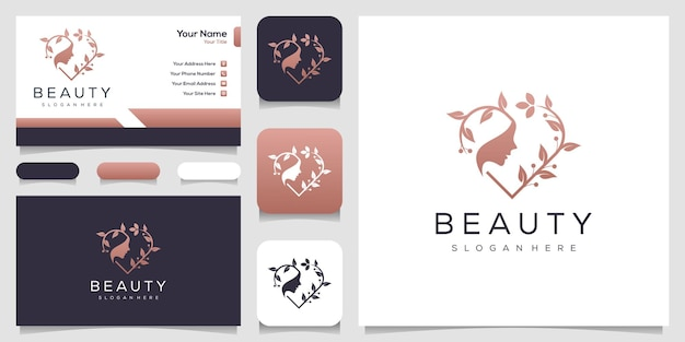 Feminime women face and leaf with line art style and business card design