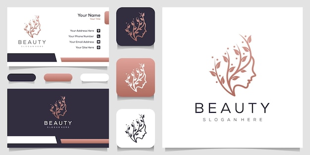 Feminime women face with leaf logo template business card