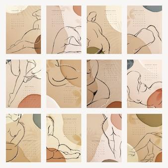 フェミニンな2022年月間カレンダーテンプレート、美的デザインベクトルセット