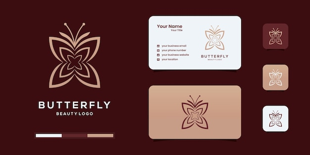 フェミニンな抽象的な蝶のロゴデザインテンプレート。