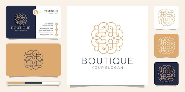 Feminine and abstract line art style logo boutique.