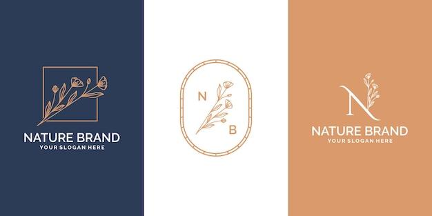 Женский и цветочный ботанический и цветочный шаблон дизайна логотипа