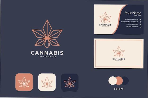 フェミニンで豪華な大麻ラインアートのロゴのデザインと名刺